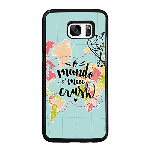 Skinsends Cool World Map Love Travel Phone case Compatible with Galaxy S7, o Mundo e MEU Crush Hard Back Compatible with Samsung Galaxy S7 -
