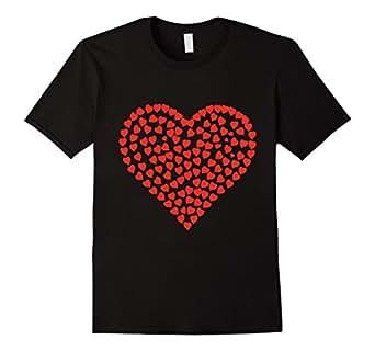 Mens Red Heart Valentine's Day T-Shirt Women Girls 2XL Black