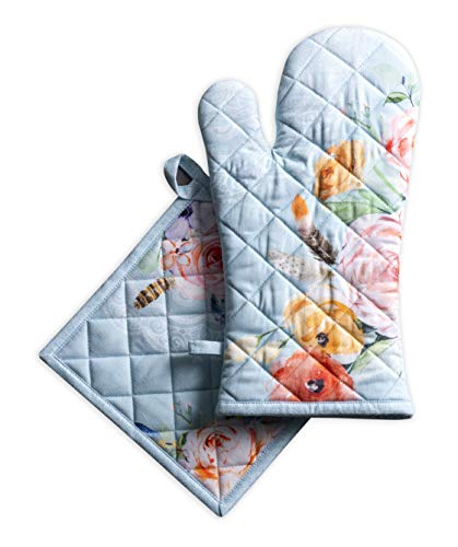 (Maison d' Hermine Ibiza 100% Cotton Set of Oven Mitt (7.5 Inch by 13 Inch) and Pot Holder (8 Inch by 8 Inch). )