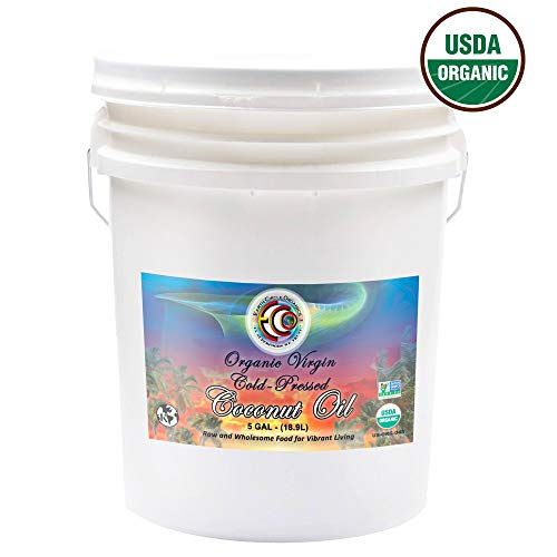 Earth Circle Organics Coconut Oil Cold Pressed 5 Gallon, for Baking, Frying, Smoothies, Skin Care, Gluten-Free and Vegan