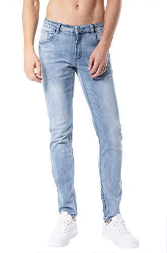 - ZLZ Slim Fit Jeans, Men's Younger-Looking Fashionable Colorful Super Comfy Stretch Skinny Fit Denim Jeans (34, Light Blue)