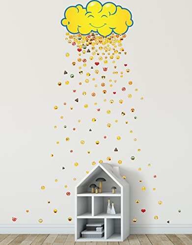 - Stickerbrand Happy Cloud Raining 200 Emojis Wall Decal Sticker Great Party Favors. Make Rain Pattern for The Kid's Room. Reusable Smiley Emojis Similar to iPhone/Android Keyboard Icons. #6093