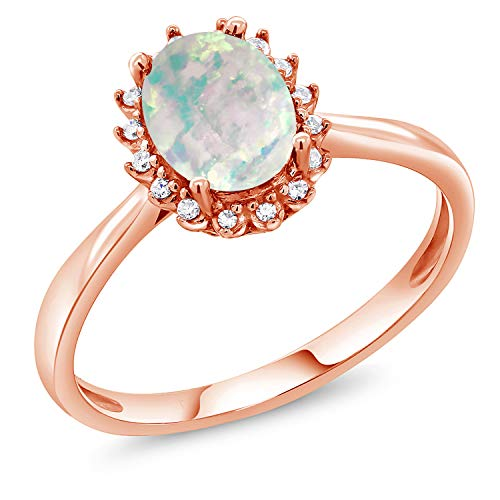 Gem Stone King 1.05Ct Oval Cabochon White Simulated Opal 10K Rose Gold Ring with Diamond Accent (Size 5)