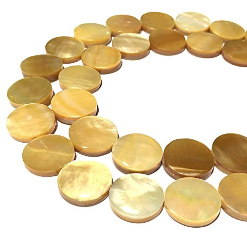[ABCgems] Extremely Rare Saltwater Tahitian Golden Lip Oyster Shell (Exquisite Luster) Large 20mm Coin Beads for Beading & Jewelry - 20 Beads Mm Coin
