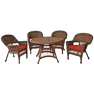 Jeco–Juego de sillas de comedor Set en miel con cojines de color rojo