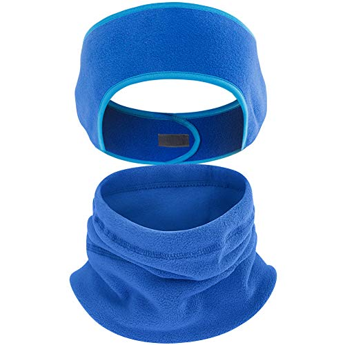 2 Pack Fleece Ear Warmers Headband Fleece Neck Warmer Set Ear Muffs Neck Gaiter Tube Stay Warm & Cozy with our Thermal Polar Fleece & Performance Stretch Perfect for Sports & Dail (Blue) (Ear Band Thermal)