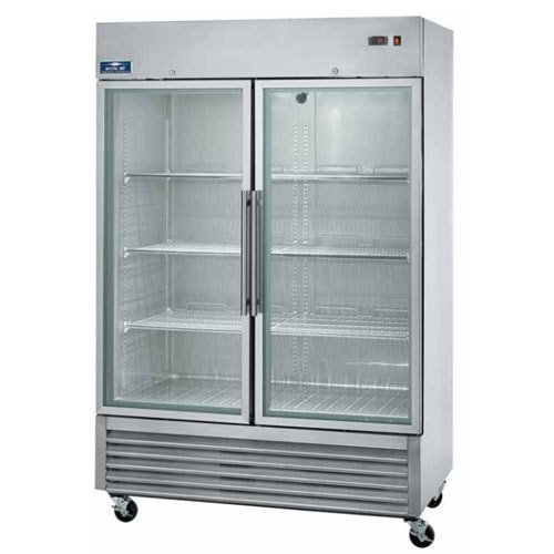 Arctic Air AGR49 Two Door Glass Reach-In Refrigerators, 2 doors 6 shelves, 33DF to 41DF, 49 cu. ft., Stainless Steel