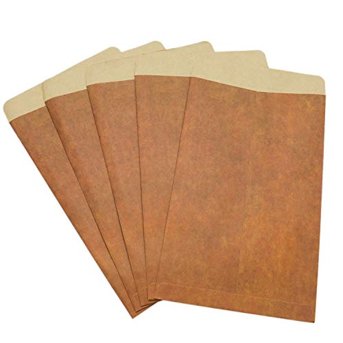 HUELE 50 Pcs Retro Brown Vintage Kraft Paper Envelopes Invitation Greeting Card Envelopes 4.7