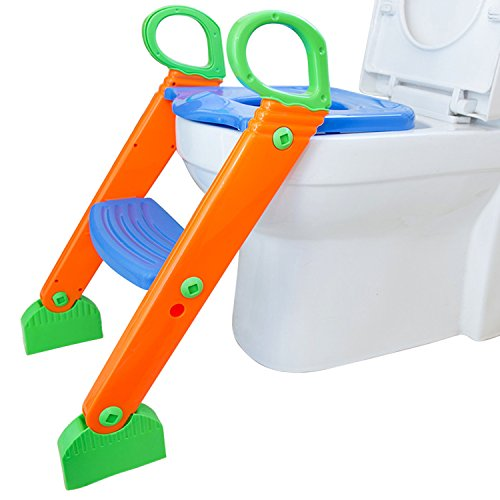 Beinhome Potty Training Seat with Non-Slip Ladder Adjustable Baby 2 in 1 Training Step Stool, Comfortable & Safe Padded Potty Trainer Toilet Seat Chair for Boys Girls ()
