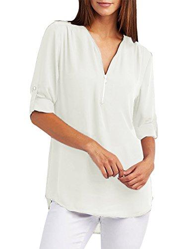 Mousseline Col Manches Tunique Blanc Blouse Femme Zipp Mode Top V Longues Yidarton Chemisier wZxCq8f6