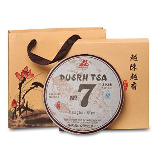 (Puerh Tea Cake No7 (150 cups) Ripe Pu Erh Tea from 100% Natural Chinese Loose Leaf Yunnan Black Fermented Compressed Aged Menghai Shou Pu-erh Tea High Caffeine Level (357g\12.6oz))