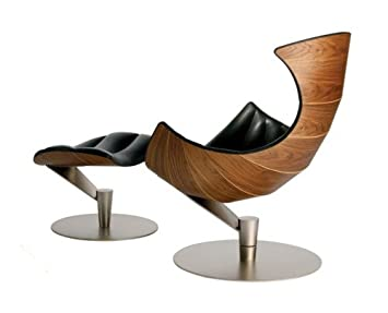 Fjords Lobster Lounge Chair And Ottoman Walnut Wood Frame And Steel Base By  Hjellegjerde Of Norway