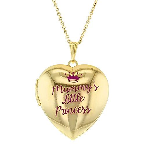4 Photo Heart Locket (Mummy's Little Princess Crown Photo Pendant Heart Locket Necklace for Girls 16