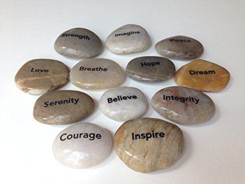 Names Of Decorative Stones : Engraved inspirational stones different words in