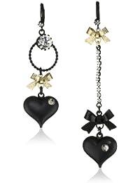 Womens Heart/Bow Drop Earrings