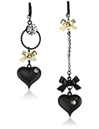 Betsey Johnson Womens Heart/Bow Drop Earrings