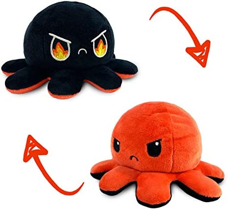 Whale-Black//Gray Show Your Mood Without Saying a Word Suitable for Family and Friends. Antetek Flip Doll Reversible Plush Toys