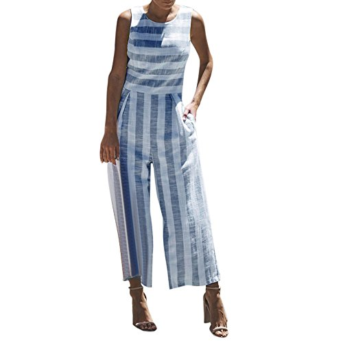 vermers Women Casual Clubwear Jumpsuits Summer Sleeveless Striped Wide Leg Pants Outfit Romper (M, Navy)