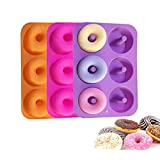 Tebery Silicone Donut Molds, 6 Cavity Non-Stick Safe Baking Tray Maker Pan BPA Free Donut Mold Heat Resistance for Cake Biscuit Bagels Muffins - Orange, Rose Red, Purple(3 Pack)