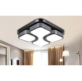 Stylehome LED Deckenlampe 24W Schwarz Fr Wohnzimmer Schlafzimmer Kche 6908C Quadrat