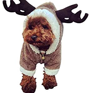 Christmas Elk Pet dog cosplay clothes for Poodle Bichon Frise small dogs-M