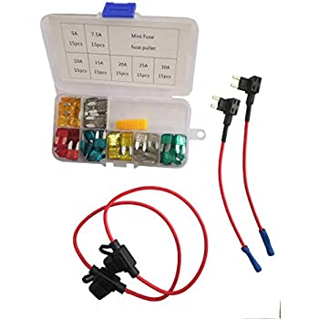 Fuse Puller GRENDEY Automotive Car Boat Truck SUV Low Profile Mini Blade Fuse Assorted Kit 105Pcs 5A 7.5A 10A 15A 20A 25A 30A