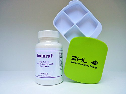 Optimox – Iodoral, High Potency Iodine Potassium Iodide Thyroid Support Supplement, 240 Tablets, Combo with ZHL Pill-Box by Optimox