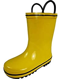Waterproof Rubber Rain Boots For Kids - Easy Pull-On Handles - For Boys and Girls - Toddlers and Big Kids