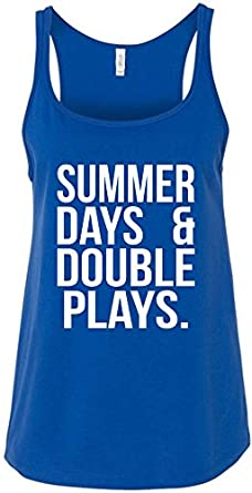 0a02656d2953 60%OFF Summer Days and Double Plays Ladies Baseball Relaxed Tank Top Shirt