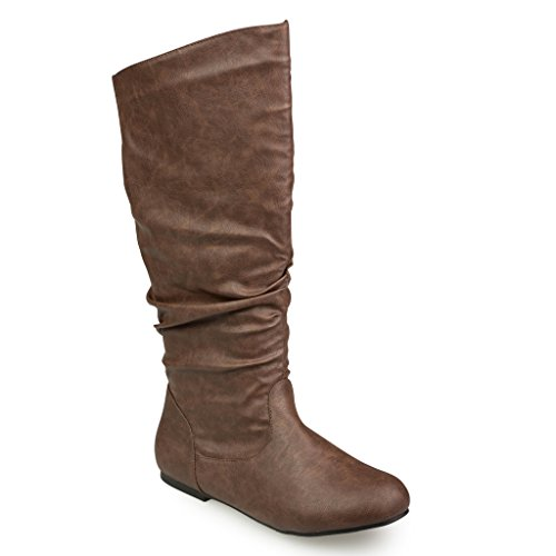 Twisted Women's SHELLY Wide Width/Wide Calf Faux Leather Knee-High Scrunch Flat Riding Boot - SHELLY139P BROWN, Size 11 (Collar Scrunch)