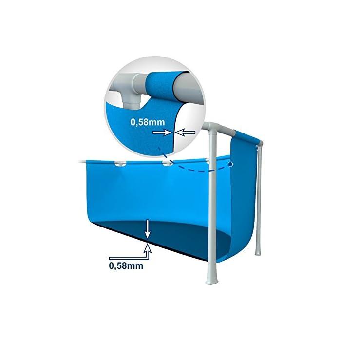 41QFnQImImL Piscina desmontable tubular Intex de la línea Prisma Frame; medidas: 400 x 200 x 100 cm (rectangular); capacidad: 6.836 litros/agua; color liner: azul celeste Lona fabricada con tecnología Super-Tough de 3 capas laminadas de material extrafuerte que proporcionan resistencia y durabilidad Sistema de aireación Hydro Technology: mejora la filtración, aumenta la pureza del agua y mejora la cantidad de iones negativos sobre la superficie del agua piscina 400 x 200