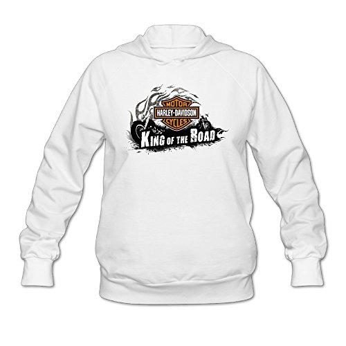 - SAMMOI Harley Davidson Logo Women's Athletic Fleece Hoodie L White