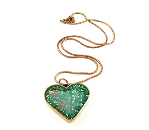 LKS Originals Orgone Energy Valentine Heart Necklace in Antique Copper Finish with Malachite