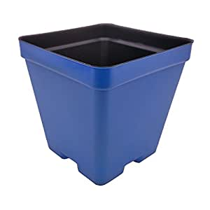 """4 Inch Press Fit Flower Pots - Made in USA - Premium Quality, Reusable, Recyclable - Garden, Greenhouse, Hydroponics, Seed Starting (Actual Dimensions 3.5"""" Square By 3.5"""" Deep) (Blue, 100)"""