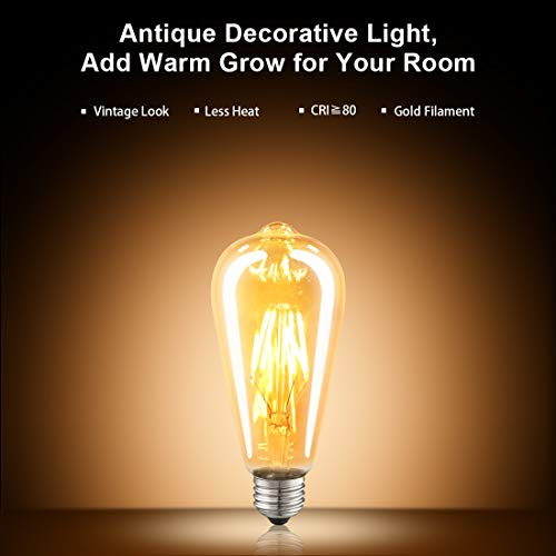 LED Edison Bulb Dimmable Amber Warm 2700K Antique Vintage Style Filament Light Bulbs 40W Equivalent E26 Base 6-Pack by LUXON by LUXON (Image #4)