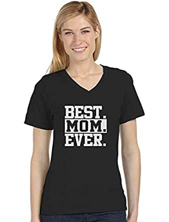 Best Mom Ever Unique Gift Idea Coffee Mug for Mother's Day or Birthday Tea V-Neck Fitted Women T-Shirt Small Black