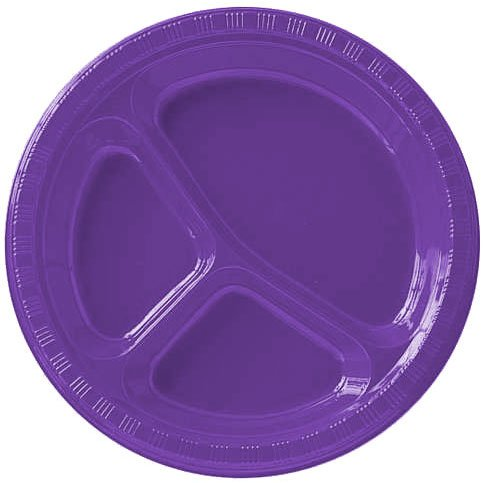 Purple 10.5 Divided Plastic Plates 20ct by Amscan B00TKSKDK0