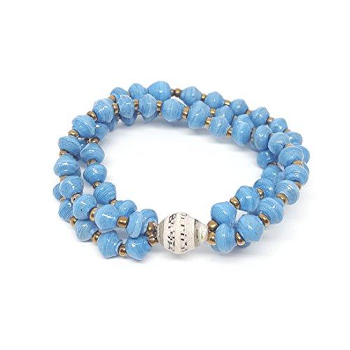 Handmade Triple Strand Paper Bead Turquoise Matino Cheik Bracelet, Paper Bead Jewelry, Fair Trade, (Triple Strand Turquoise Bead)
