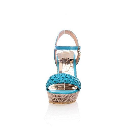 BalaMasa Girls Cross Weaving Open-Toe Soft Material Sandals Blue AEyVevjJ