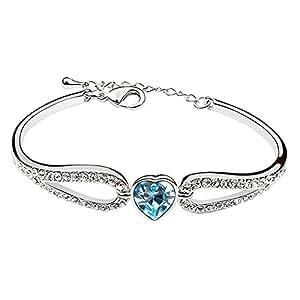 MARENJA Cristal-Pulseras Mujer Corazón Alas Chapado en Oro Blanco Cristal Azul 15+3cm