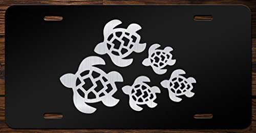 (Turtle Family Vanity Front License Plate Tag KCE075)