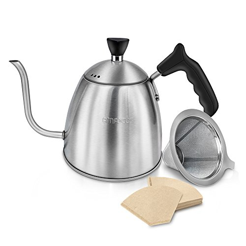 Pour Over Coffee Kettle Gooseneck Teakettle Drip Pot with Stainless Steel Cone Dripper and Paper Filters, 1.3L
