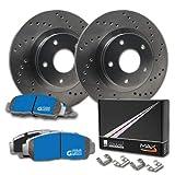 Max Brakes Front Cross Drilled Rotors w/M1 Brake Pads Supreme Brake Kit KM015321 | Fits: 2009 09 Chevy Silverado 1500 2WD/4WD Models