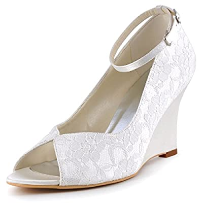 Elegantpark WP1415 Women Peep Toe Lace Satin Ankle Strap Wedges High Heel Wedding Bridal Shoes
