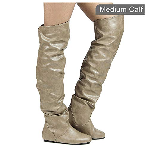 (RF ROOM OF FASHION Women's Trend-Hi Over-The-Knee Thigh High Flat Slouchy Shaft Low Heel Boots Taupe PU)