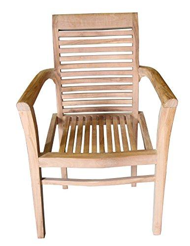 Ala Teak Wood Indoor Outdoor Patio Garden Yard Stackable Arm Chair Set Seat Teak (2 Chairs)