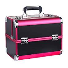 GreenLife® Makeup Case 12.6 inches Portable Cosmetic Case Aluminum Frame Makeup Train Case Fireproof boards Large Capacity Organizer Professional Makeup Artist Brushes skincare Storage Box Bag RED BLACK