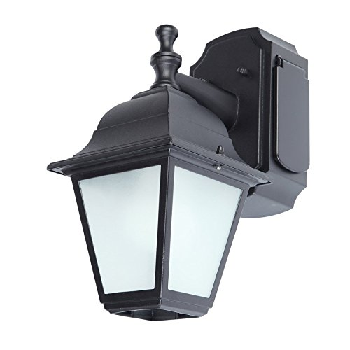 Wall Light Fixture With Outlet: Portfolio GFCI 11.81-in H Black Outdoor Wall Light