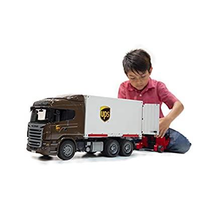 bruder 03581 Scania R-Series Ups Logistics Truck with Forklift Vehicles - Toys: Toys & Games