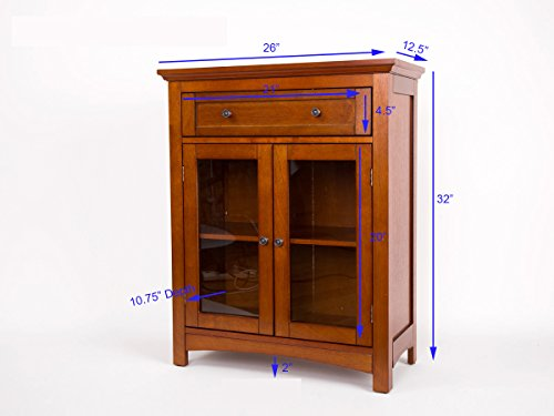 """Glitzhome 32"""" H Wooden Shelved Floor Storage Cabinet with 1 Drawer and Double Doors"""